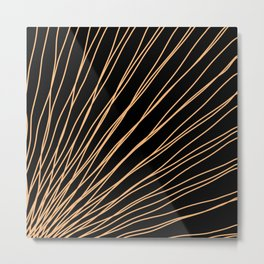 Rays of bronze light with intersecting waves on black. Metal Print