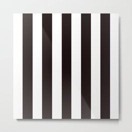 Licorice black - solid color - white vertical lines pattern Metal Print