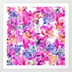 Trendy hand painted pink purple floral watercolor pattern Art Print