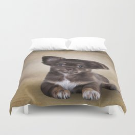 Drawing Puppy Chihuahua Duvet Cover