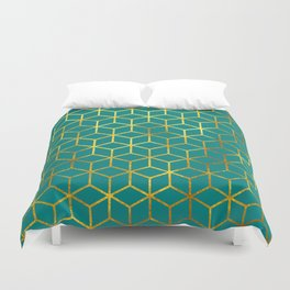 Teal and Gold Squares Duvet Cover