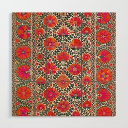 Kermina Suzani Uzbekistan Colorful Embroidery Print Wood Wall Art