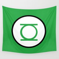 green lantern Wall Tapestries featuring Green Lantern Symbol by Crayle Vanest