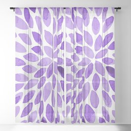 Watercolor brush strokes - ultra violet Sheer Curtain