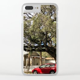 Parked car in front of tree Clear iPhone Case