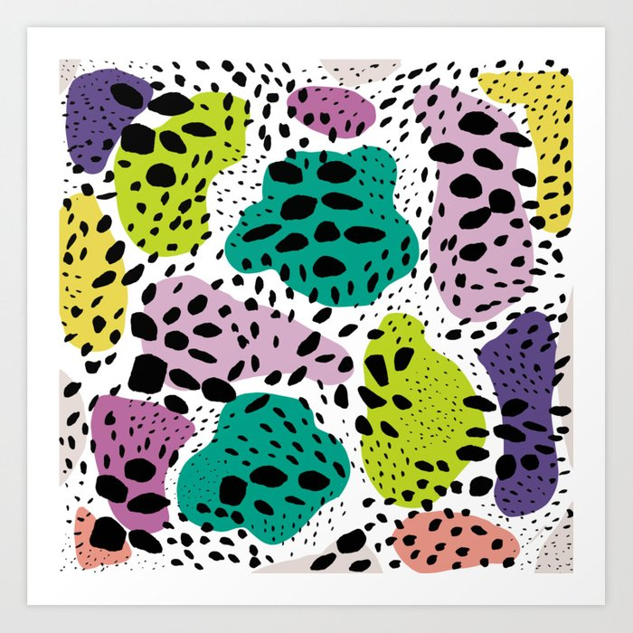 Modern Abstract Painted Black Polka Dots Fashion Colors Geometric Shapes Lavender Lime Art Print By Girlytrend