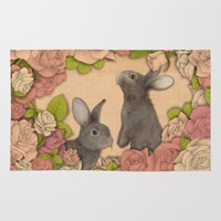 rabbits Area & Throw Rugs featuring Rosie Rabbits by Katy Davis