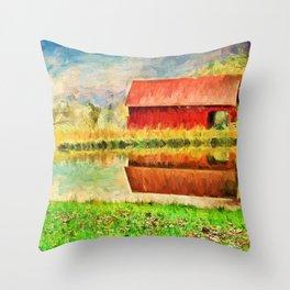 Farm Reflections Throw Pillow