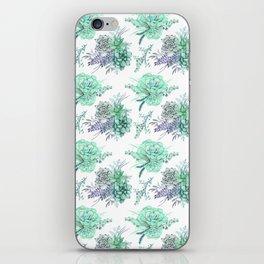 Succulents Mint Green Lavender Lilac Violet Pattern iPhone Skin