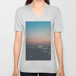 Looking down on the lights of Los Angeles as night. Unisex V-Neck