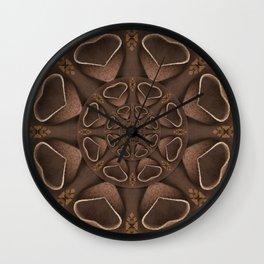 leather fantasy flower in mandala style Wall Clock