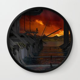 Drevos - Sci Fi - Sunset - Science Fiction - ZG 3D Wall Clock