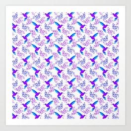 Pretty beautiful cute purple blue hummingbirds, delicate twigs with little leaves seamless pattern. Art Print