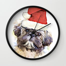 Christmas Shih Tzu puppy Wall Clock