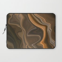 Golden Coppery Ombre Deep Marbled Abstract Texture Laptop Sleeve