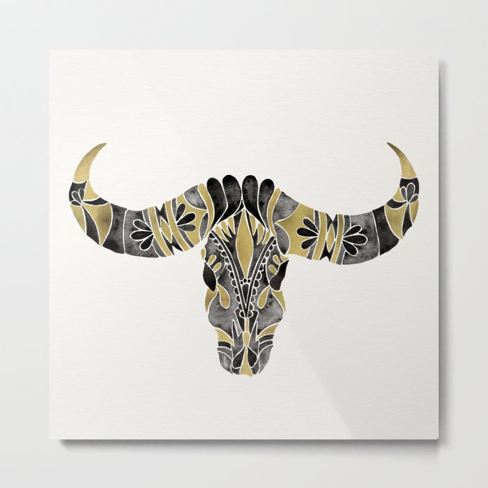 Water Buffalo Skull – Black & Gold Palette Metal Print