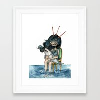 anxiety Framed Art Prints featuring anxiety by leteresa