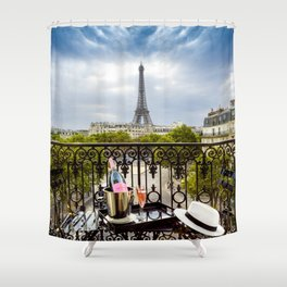 Eiffel Tower Paris Balcony View Shower Curtain