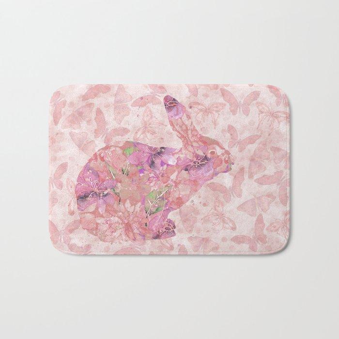 cute floral pattern watercolor Bunny art Bath Mat