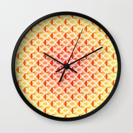 A wicker light pattern of pink squares and yellow rhombuses with diagonal volumetric triangles. Wall Clock