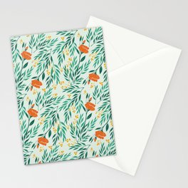 Tropical Flower and Leaves Pattern Stationery Cards