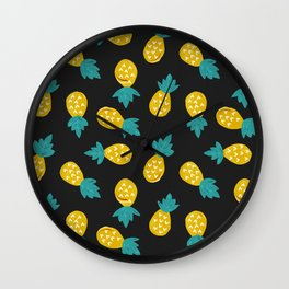 Pineapple Party – Yellow & Green on Charcoal Wall Clock