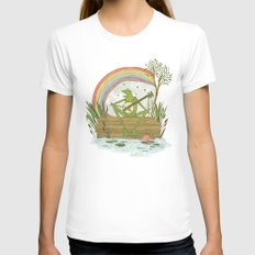 Rainbow Connection SMALL Womens Fitted Tee White