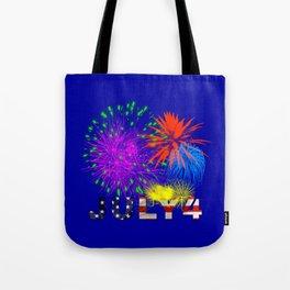 America 4th of July Fireworks Tote Bag