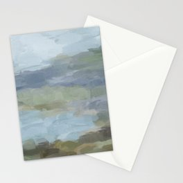 Diptych II - Sky Gray Blue Sage Green Abstract Wall Art, Painting Art, Lake Nature Print Portrait Stationery Cards