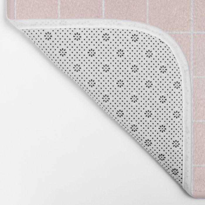 Pink Coral Grid Bath Mat