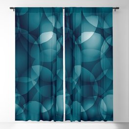 Dark intersecting heavenly translucent circles in bright colors with the blue glow of the ocean. Blackout Curtain