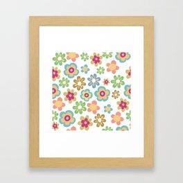 Retro 60s Hippie Flowers Framed Art Print