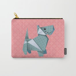 Origami Puppies With Pink Background Carry-All Pouch