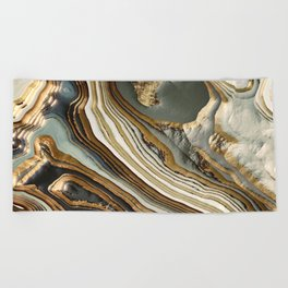 White Gold Agate Abstract Beach Towel