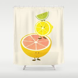 Smiling citrus fruit stack Shower Curtain