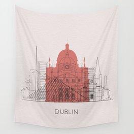 Dublin Landmarks Poster Wall Tapestry