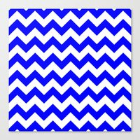 chevron Canvas Prints featuring Chevron (Blue/White) by 10813 Apparel