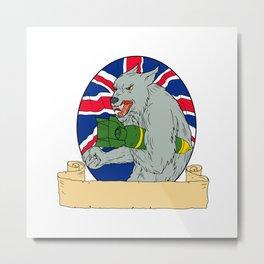Grey Wolf Holding Bomb Union Jack Drawing Metal Print