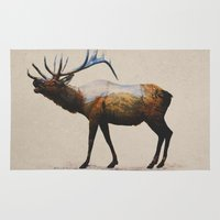 elk Area & Throw Rugs featuring The Rocky Mountain Elk by Davies Babies