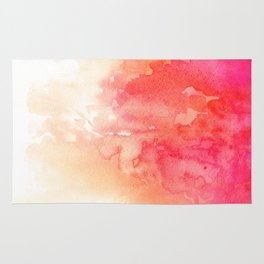 Watercolor red Coral decor Modern illustration abstract Peachy print Pink art Rug