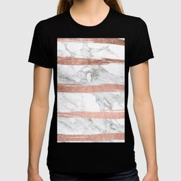 Modern chic faux rose gold brush stripes white marble T-shirt