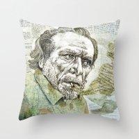 bukowski Throw Pillows featuring Charles Bukowski by Nina Palumbo Illustration