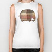 plaid Biker Tanks featuring Plaid Elephant  by Terry Fan