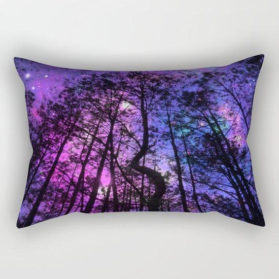 Black Trees Purple Fuchsia Blue space Rectangular Pillow