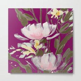 tulips on plum Metal Print
