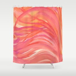 Abstract Pink Orange Purple Stripes Painting Girl Summer Colorful Shower Curtain