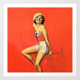 "Pinup by Rolf Armstrong ""Beauty with a Cap"" Art Print"