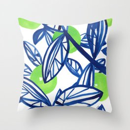 Blue and lime green abstract apple tree Throw Pillow