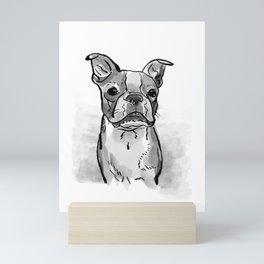Black and White Boston Terrier Watercolor Mini Art Print