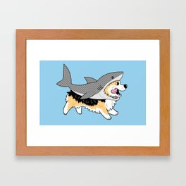 Another Corgi in a Shark Suit Framed Art Print
